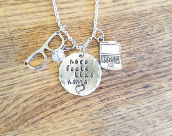 Stitchers-Camsten hand stamped necklace-Kirsten and Cameron