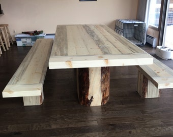 "Custom Dining Table With Matching Benches 96""x42""x30"""