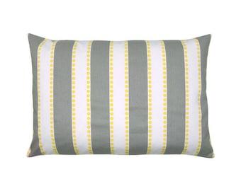 Pillowcase LULU gray white striped 40 x 60 cm stripe yellow