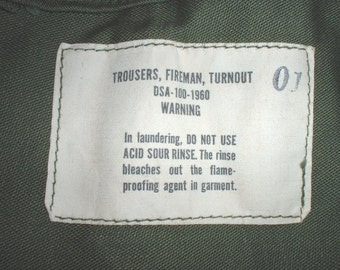 US Army Fireman's turnout trousers, unissued, 1960 vintage & uber-rare!