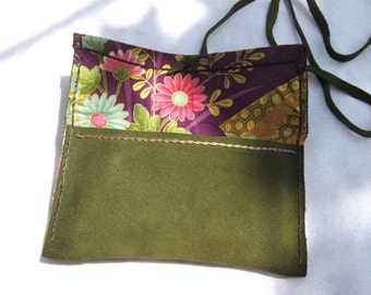 Japanese fabric & suede leather wallet