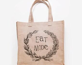 Eat Mode Jute Grocery Bag