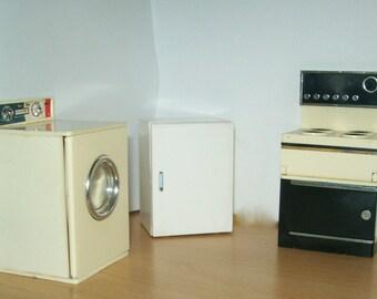 1970s Barton/Lundby Dollhouse Cooker, Washer, Fridge  1/16 scale