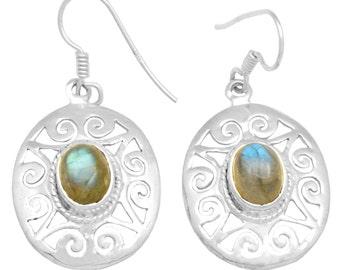 Labradorite Gemstone Earrings Solid 925 Sterling Silver Jewelry IE21062
