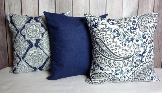 Indigo Pillow. Blue Pillow. Navy Pillow. Vintage Indigo Blue Navy Gray White contemporary modern home decor