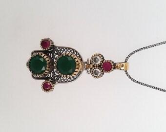 Sterling Silver Necklace , Antique Silver Necklace , Emerald Necklace ,Ruby Nacklace,Zircon Necklace,Hamsa-Hand Necklace