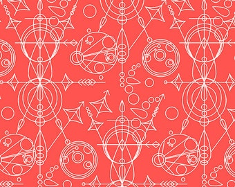 Salmon Geometrical Sunprint fabric - 100% cotton [[by the half yard]]