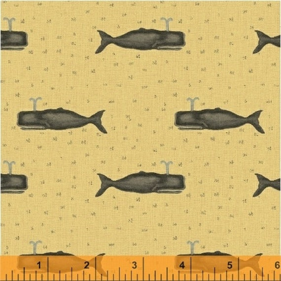 Nautical whale fabric quilting cotton fat quarter half for Whale fabric