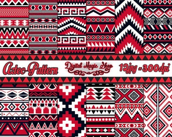 12 Seamless Aztec Digital Paper, Red, Black, Ikat, geometric pattern, native Indian, Navajo, arrows, Commercial use