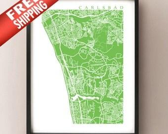 Carlsbad Map Print - California Art Poster