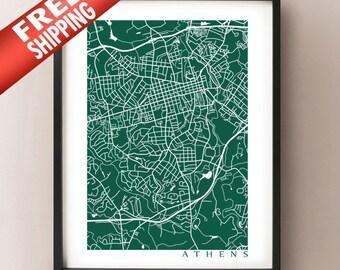 Athens GA Map Print - Georgia Poster