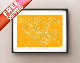 East Grinstead Map Print - UK Wall Art - England Poster
