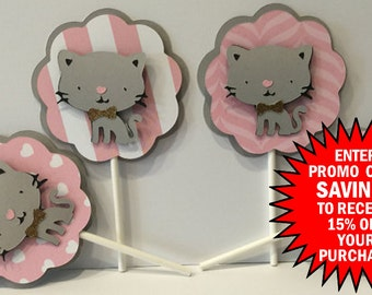 Kitty Cat Theme Cupcake Toppers, Set of 12, Party Decorations, Kitten