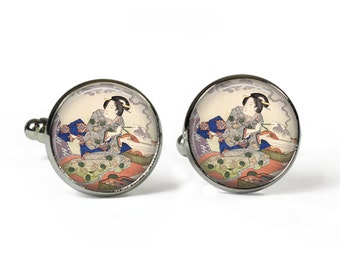 JAPANESE Painting - Glass Picture Cufflinks - Silver Plated (Art Print L15)