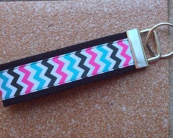 Chevron Ribbon Key Fob - Chevron Keychain - Ribbon Wristlet - Blue Pink Black Chevron Keychain