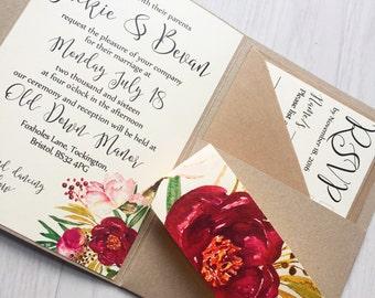 Pocketfold wedding invitation - rustic floral wedding invitation - burgundy floral invitation - flower pocketfold invitation