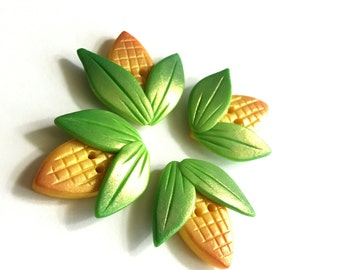 Handmade Polymer Clay Cute Corn on the Cob Decorative Buttons - OOAK