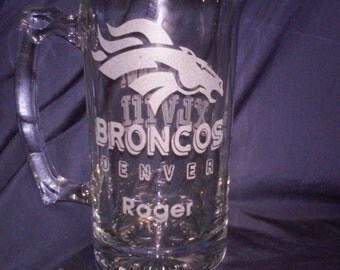Denver Broncos beer Mug,Limited time sale Etched beer mugs,Superbowl beer mugs,Sports Team Glasses,Etched glasses,Football,engraved gifts,
