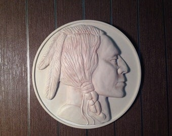 Buffalo Nickel Reproduction Coin,white wall relief pink finish,relief sculpture