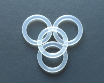 Four Pack of White / Clear O-Rings **Sizes 6mm/ 8mm/ 10mm/12mm/14mm/16mm/18mm/20mm/22mm/24mm/26mm/28mm/30mm** Flesh Plug/ Tunnel Backs