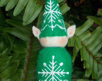 Elf Ornament ~ Decoration ~ Christmas ~ Holiday Stuffed Green Felt with White Snowflakes
