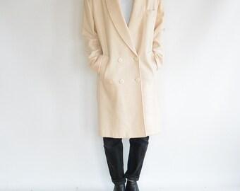 Wool Winter Coat Cream Color Women's size 10 Over Sized Long Wool Coat New York Studio