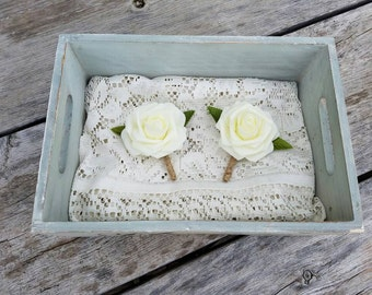 Rustic boutonniere, ivory boutonniere, ivory and twine boutonniere, twine boutonniere, simple boutonniere, spring boutonniere, summer bouton