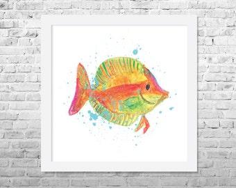 Fish Painting, Fish Art Print, Watercolor Fish Painting, Nursery Wall Decor, Animal Art, Watercolor Art, Nursery Art, Sea Life Art