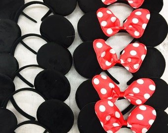 Set of 12 mickey minnie ears / mickey minnie headband / disney party/theme party / disney ears headband