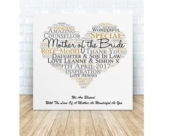 Mother of the Bride * Mother of the Groom Ceramic Plaque. Wedding Thank You Gift. Personalised