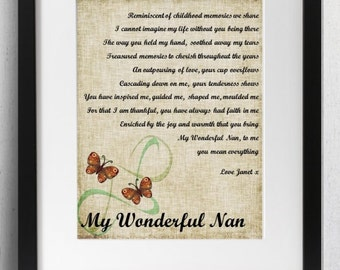 Personalised Grandmother Poem Framed Print