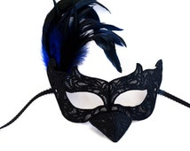 Raven masquerade mask, black raven mask with feathers, black bird masquerade mask for school plays and masquerade parties