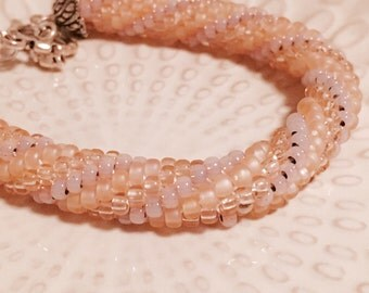 Bead Crochet Bracelet- Light Pink Bangle