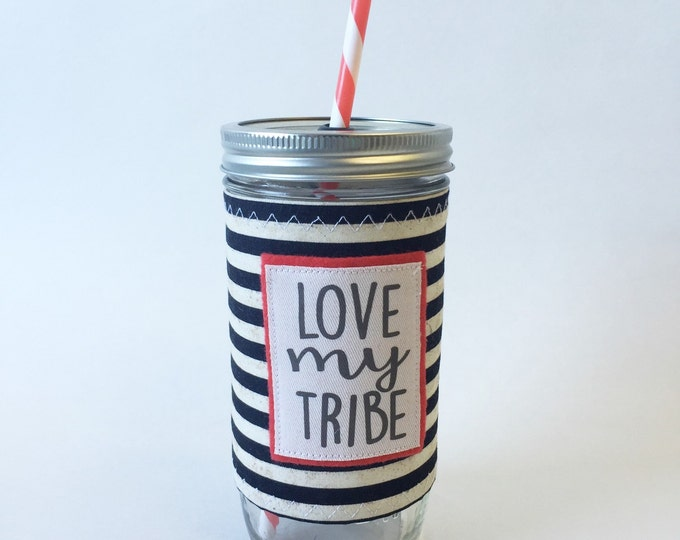 Love My Tribe Mason Jar Tumbler 24oz with Insulated Mason Jar Cozy BPA Free Straw