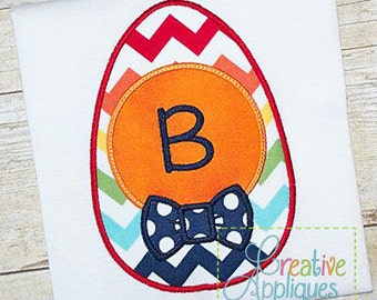 Personalized Easter Egg with Bow Tie Applique Shirt or Onesie Girl or Boy