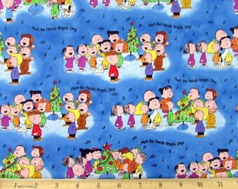 Peanuts Christmas Time Is Here Lucy Charlie Brown Pig Pen Snoopy Sally Fabric From Quilting Treasures By the Yard