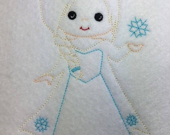 Ice Princess - Snow - Snowflake -  Sketch - Redwork style  - 3 Sizes Included - DIGITAL Embroidery DESIGN