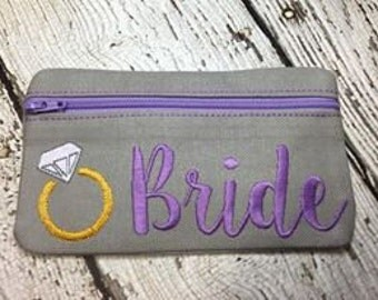 5 x 7 Bride, Bridesmaid, Maid of Honor, Matron of Honor, Mother of Bride, Flowergirl ZIPPER Pouch SET - 6 designs -DIGITAL Embroidery design