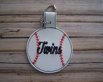 Twins - Baseball - In The Hoop - Snap/Rivet Key Fob - DIGITAL Embroidery Design