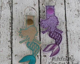 Mermaid - In The Hoop - Snap/Rivet Key Fob - DIGITAL EMBROIDERY Design