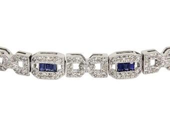 Beautiful Estate 14kt 14 Karat White Gold Sapphire Diamond Bracelet