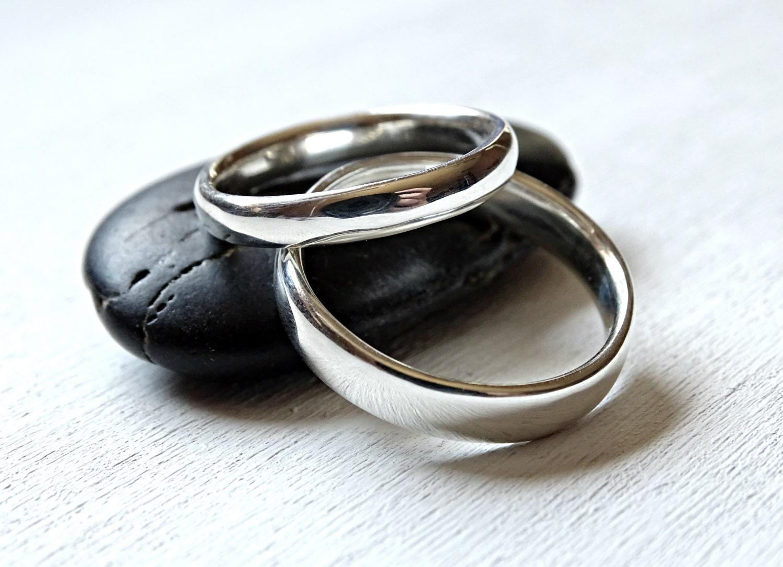 Freundschaftsringe silber breit  schlichte Eheringe Silber gewölbte Silberringe Comfort Fit