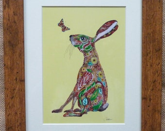 Hare and Butterfly Print Hare and Butterfly Picture-Print for a child's room Nursery print,Character print.'Hello' a print to make you smile