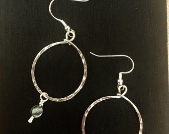 Native Silver Hammered Hoops and Abalone. Native American made.