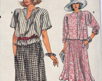 Vintage '80s shirt and skirt // sizes 8, 10, 12 // sewing pattern // uncut & factory folded // Butterick 9278