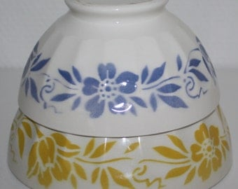 Vintage French Cafe au Lait Bowls Blue Yellow Flower Pattern Scalloped Form