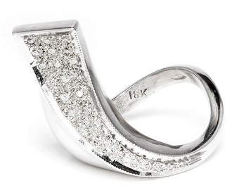 Modern Curved Diamond Ring in 18kt White Gold .20ctw Sculptural