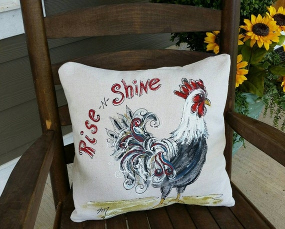 Decorative Pillows With Chickens : Rooster Decorative Pillows Accent Pillows Rustic Bedding