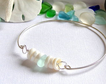 Hawaiian Puka Shell Seaglass  Bangle
