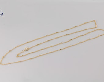 14k Gold Filled Beaded Satellite Chain Necklace, Layering, Layer,  Dainty, Modern, Everyday Jewelry, Delicate Gold Fill, Simple Chain, GVN09
